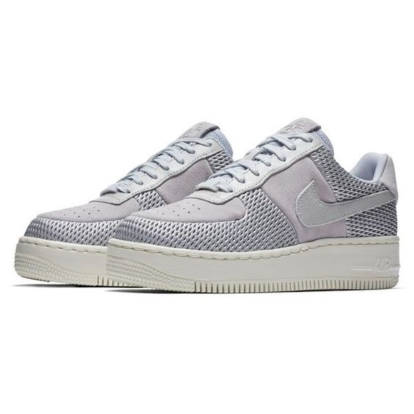 Size 9.5 Nike Air Force 1 Upstep Blue Silver Shoes
